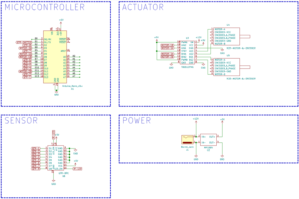 Arduino NANO - QTR-8RC - Line Follower Robot V1 Schematic / Circuit Design