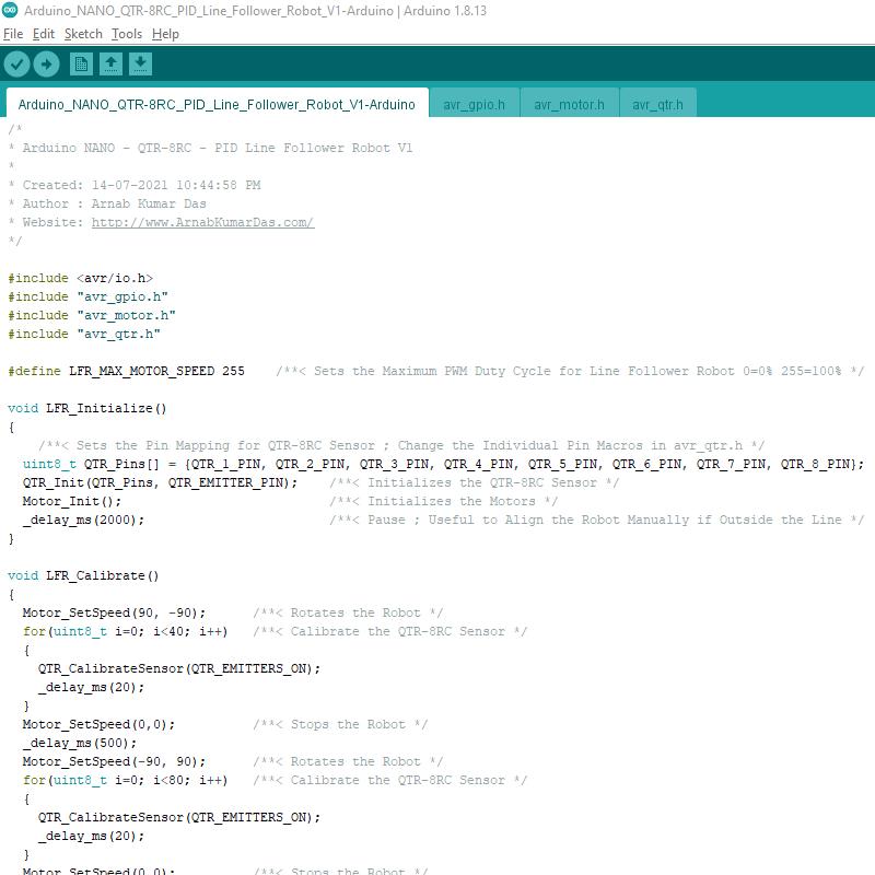 Arduino Line Follower Robot V1 Arduino IDE Project